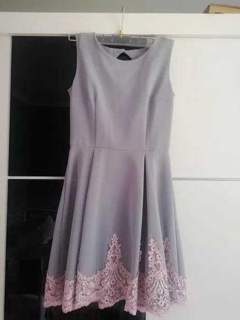 Szaro różowa sukienka