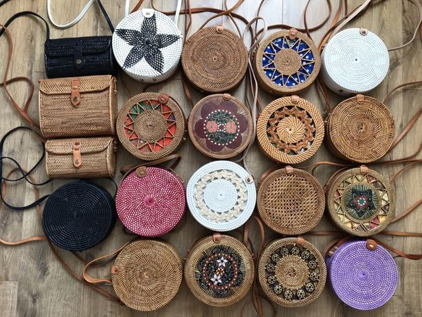 ОРИГИНАЛ сумка ротанговая круглая плетеная балийская ротанг в наличии