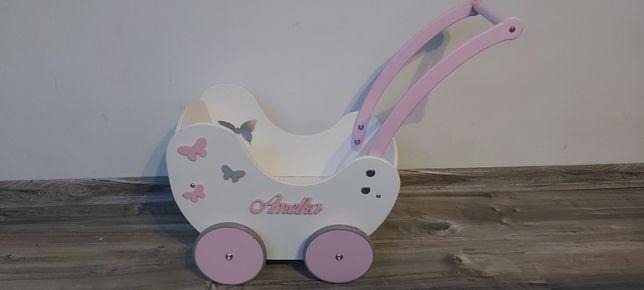 Wózek drewniany dla lalek z imieniem Amelka