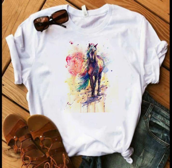 Koszulka bluzka t-shirt koń konie watercolor S-XXL Sępólno Krajeńskie - image 1