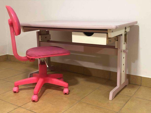 Różowe biurko księżniczki 110 cm w zestawie z fotelem i oświetleniem