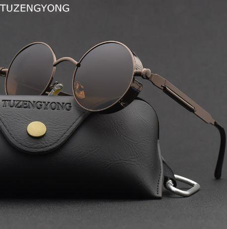 Солнцезащитные круглые винтажные очки в стиле стимпанк steampunk