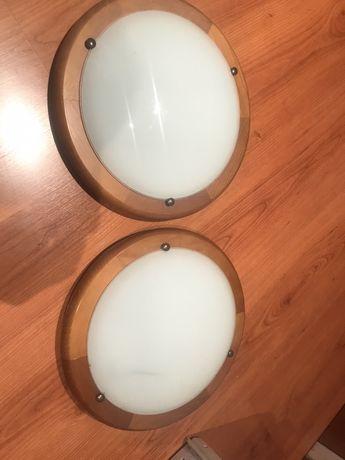 2 apliques  de teto em madeira meia lua em vidro