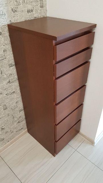 Komoda 6 szuflad, brązowa bejca okleina jesionowa/lustro40x123