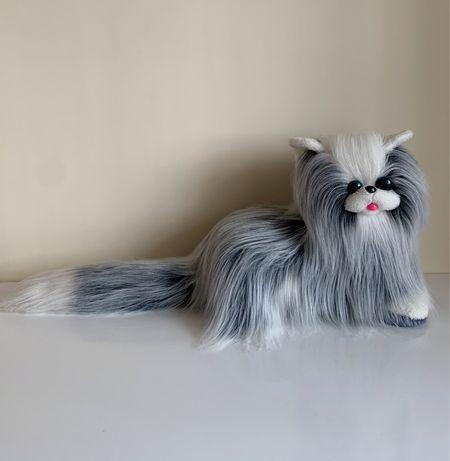 Большая мягкая игрушка серый кот котик