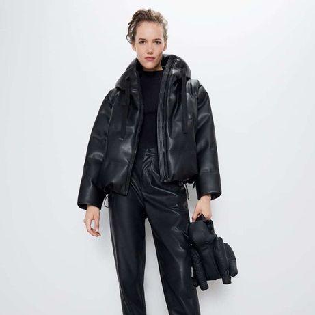 Пуффер под кожу Zara бомпер зимняя куртка авиатор пилот
