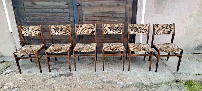 Krzesła drewniane tapicerowane,Krzesło PRL 6 szt, fotele PRL