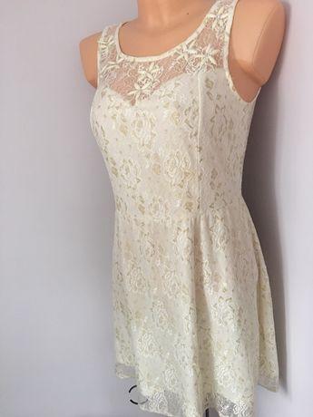 Śliczna sukienka okolicznościowa M koronka kremowa