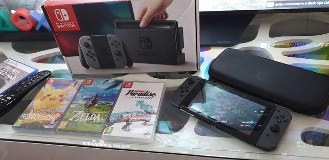 Nintendo Switch Cinza com bolsa e 3 jogos