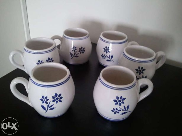 6 Canecas para chá-Cerâmica vidrada nos Açores-