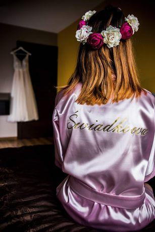 Szlafrok ślubny satynowy świadkowa xs/s różowy złoty weselny