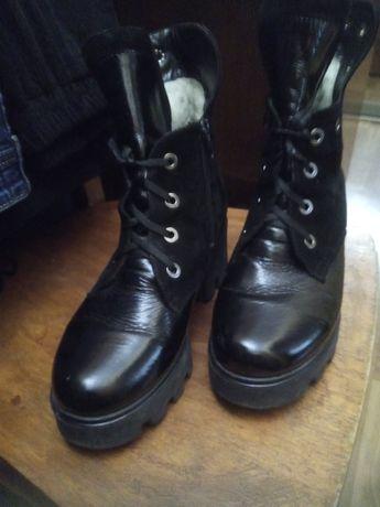 Ботинки женские, зимние натуральная кожа+замша, 24,5