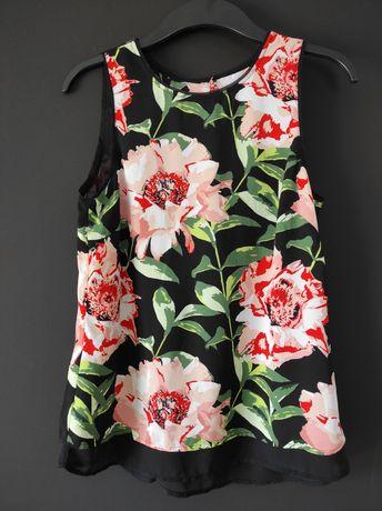 Bluzka w kwiaty bez rękawa H&M XS 34