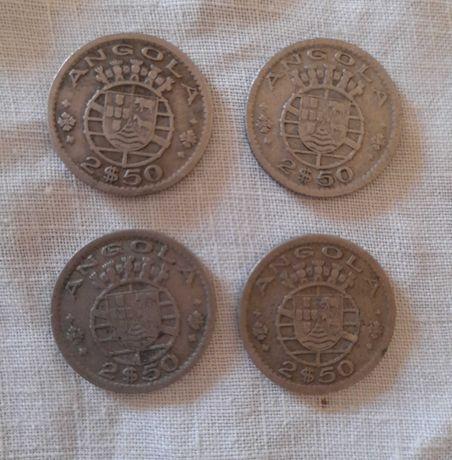 15 Moedas - 1953/56/67/69 -   Níquel de 2$50 - Angola