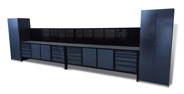Zabudowa warsztatowa stoły metalowe szafy tablice narzędziowe 700cm