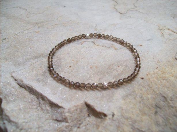 Bransoletka kwarc dymny naturalny , srebro 925
