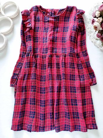 8 лет, рост 128 Платье в клетку с рукавами Matalan (Маталан)