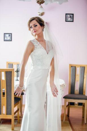Piękna SUKNIA ŚLUBNA subtelna hiszpańska PORTO ślub OKAZJA !!!