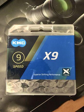 Łańcuch KMC X9 nowy ze spinką 9s 9rz