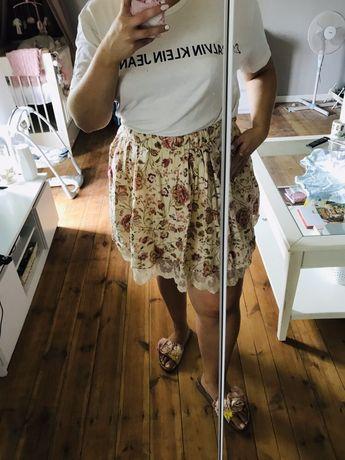 Spódnica Zara w kwiaty koronka lato jesień na gumce M