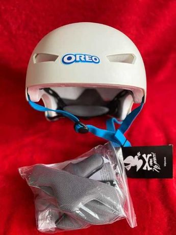 kask KRKpro biały S-M z motywem Oreo