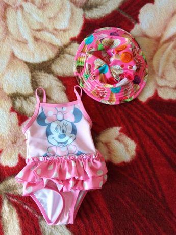 Strój kąpielowy dla dziewczynki dziewczęcy 62/68 3-6 msc + kapelusz!