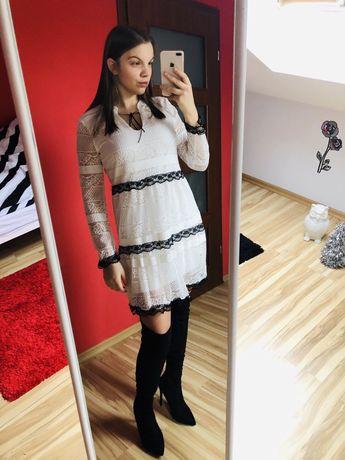 Sukienka damska biało czarna koronka uniwersalny długi rękaw nowa