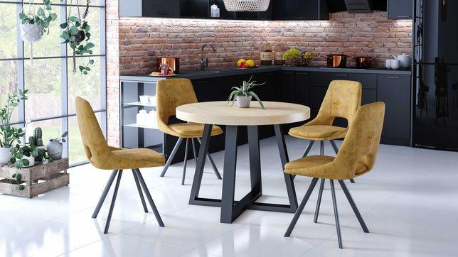 Stół okrągły, rozkładany, metalowe nogi X