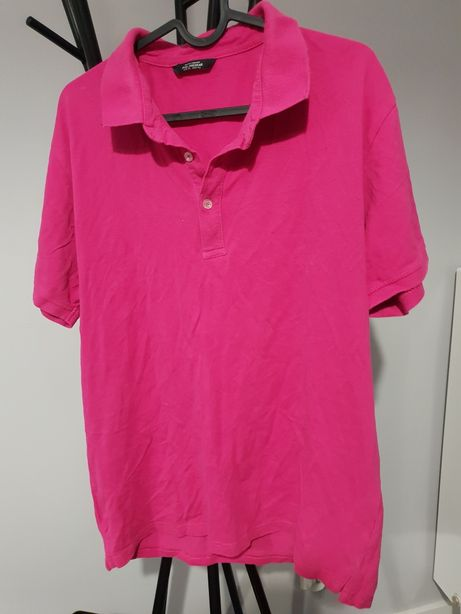 Koszulka polo fuksja pull and Bear XL różowa