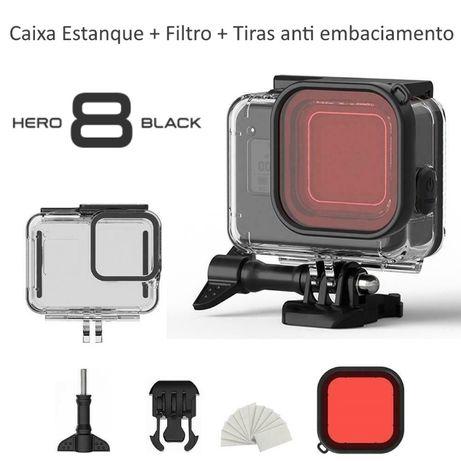 Caixa Estanque Gopro Hero 8 Black + Filtro Vermelho - Novo-Portes Gr