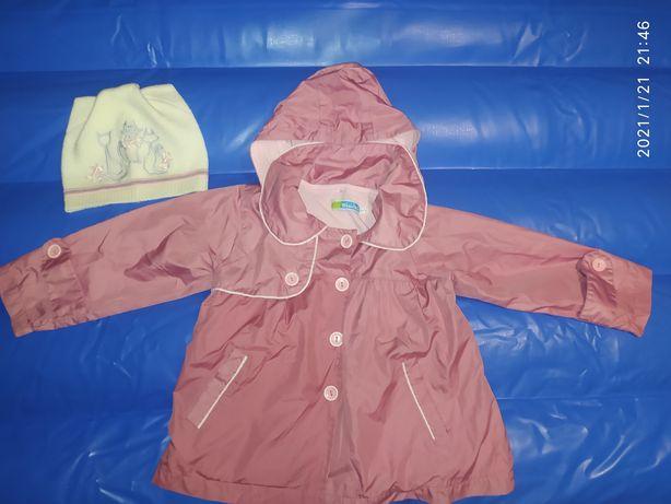 Плащ, ветровка, дождевик размер 92-98, 2-3 года , шапочка в подарок