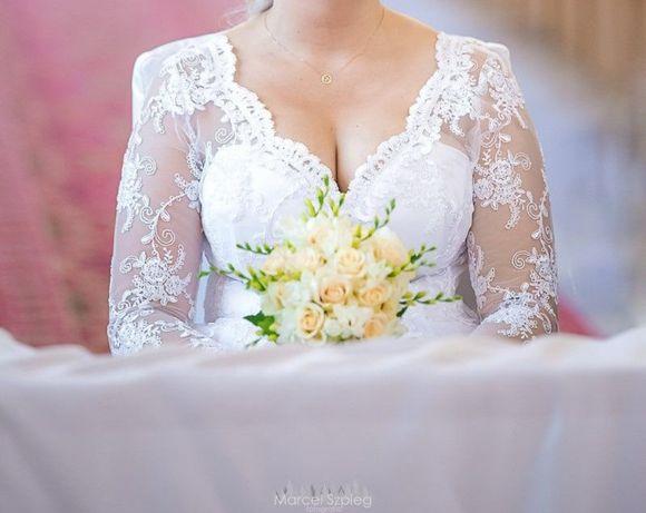 Suknia ślubna biała koronka tiul długi rękaw