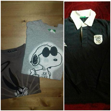 Polo e t-shirts Benetton 8/12 anos. Cavas C&A e Disney 10/12.
