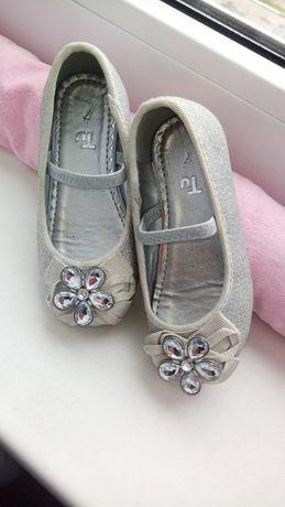 балетки TU серебро блестящие с брошками камнями блестками