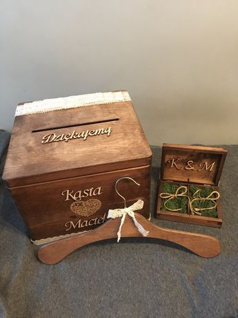 Zestaw pudełko na obrączki, koperty, wieszaki ślubne. Ślub/wesele boho