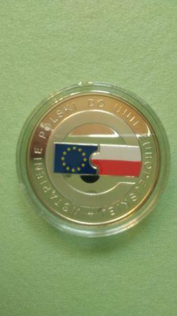 Moneta kolekcjonerska srebro 10 zł Wstąpienie Polski do Unii Europej