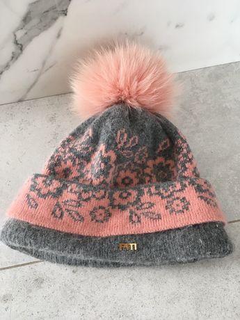 Czapka zimowa z lisem różowa primamoda węłn, akryl, angora