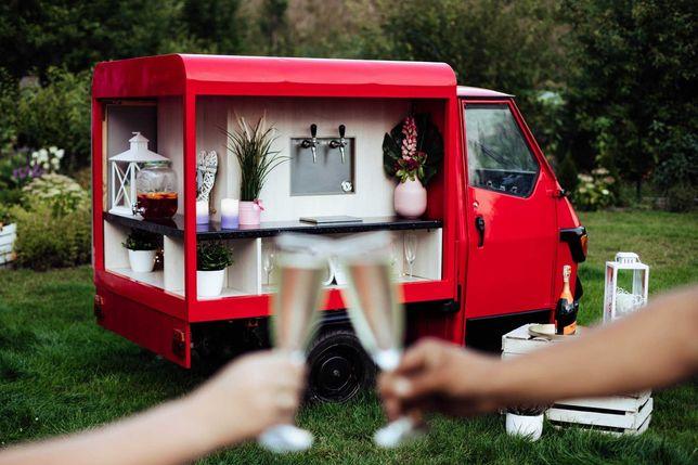 Prosecco Van Wesele Event Impreza firmowa Urodziny Bar mobilny Piaggio