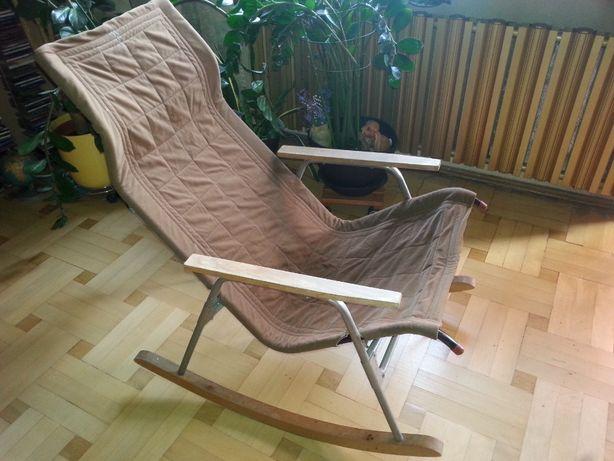 fotel bujany składany PRL vintage