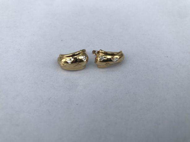 Złote kolczyki 585 złoto 1,6 g OKAZJA ładne muszelka angielskie