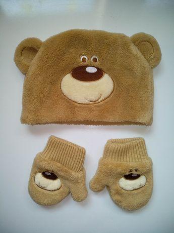 6-12 месяцев. Комплект идеал шапка варежки рукавицы с мишками ушками