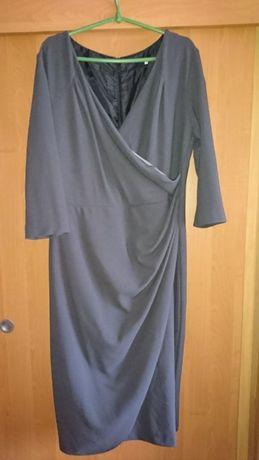 Sukienka szara kopertowa 52 wizytowa praca