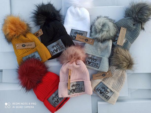 Komplet zimowy czapka z pomponem i komin duży wybór kolorów
