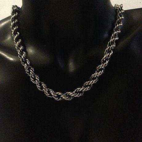 Colar em prata malha corda