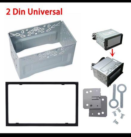 Aro 2Din Universal Frame Quadro Metal com moldura plástica