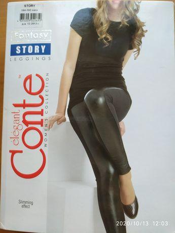 Модные кожаные леггинсы от Conte, на бедра 95-105