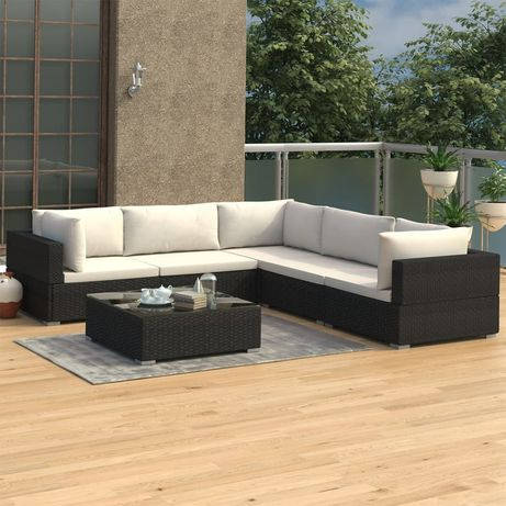 vidaXL 6 pcs conjunto lounge de jardim c/ almofadões vime PE preto 46770
