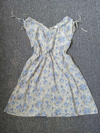 Nowa letnia sukienka H&M HM L.O.G.G. kremowo-błękitna rozm. 38 M