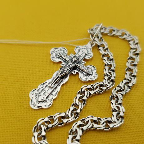 Шикарный! Крестик и цепочка серебро. Мужская серебряная цепь с кулоном