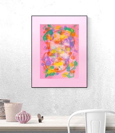 różowa abstrakcja, różowy obraz, abstrakcja na ścianę, grafika kolorow